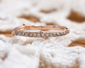 Twig Ring with Diamond Row in 14kt Rose Gold
