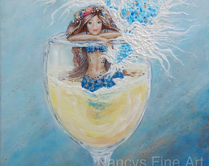 Mermaid in a wine glass painting print, sirena chardonnay kitchen art, fun mermaid art, original painting by Nancy Quiaoit