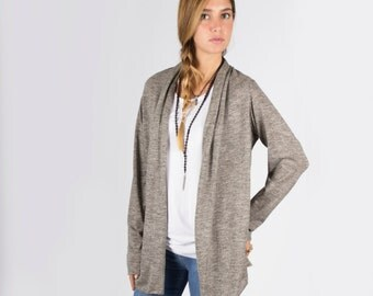 Women's Open Long sleeves Cardigan\ casual cardigan\ Light Gray \ Black\ Camel top\  Bordeaux\ Dark Gray  ---- ONE SIZE