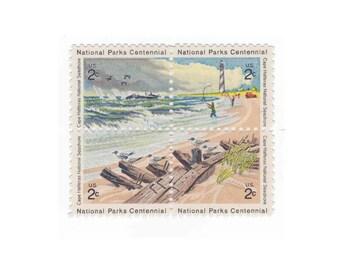 1972 2c Cape Hatteras National Seashore - Unused Vintage US Postage Stamp - Pack of 5 Blocks - Item No. 1448s