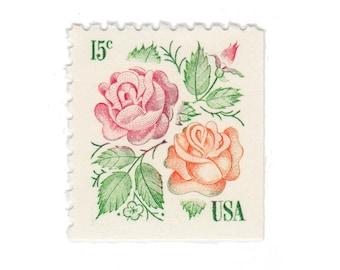 10 Unused Vintage US Postage Stamps - 1978 15c Garden Roses - Item No. 1737