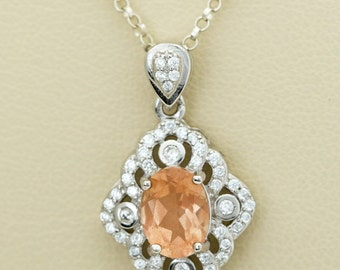 Sterling Silver Diamond Sunstone Pendant 1.2ct (S2456P)