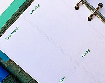 Personal Size Planner Insert - Weekly (WO2P) Undated Vertical