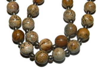 Sterling Silver and Neutral Stone Bead Necklace, Natural Stone Beads, Sterling Necklace,