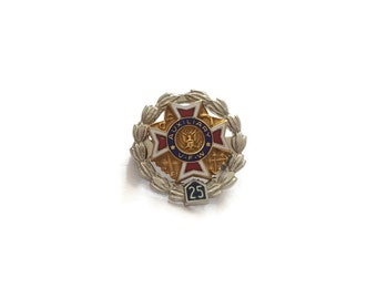 Sterling Silver Auxiliary VFW 25 Brooch, VFW Pin, Sterling Brooch, Silver Pin