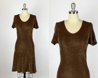 1990s. metallic lurex brown skater dress. size extra small-small