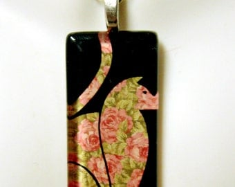 Rose cat pendant and chain - CGP02-122