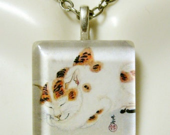 Chinese cat art pendant and chain - CGP01-106