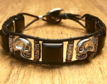 Mens Bracelet, mens skull jewelry, men's onyx bracelet, leather skull bracelet, mens jewelry, black bracelet, mens rocker jewelry