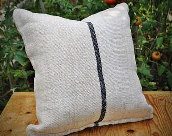 Vintage Authentic Grain Sack Pillow Cover / Handwoven hemp linen / Black Stripe