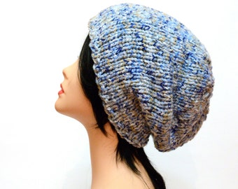 Beanie Blue bulky hat Knit Chunky Beanie wife gift Winter slouchy hat Knit beanie gift for women Womens beanie Mother day Gift
