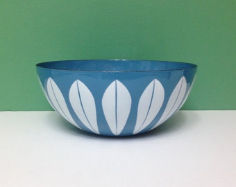 Vintage Cathrineholm Blue Enamel Bowl with White Lotus Enamelware 9.5 Inches