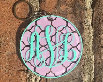 Monogram Keychain   Monogram Acrylic Keychain   Personalized Keychain