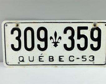 Vintage 1953 License Plate -  Quebec Souvenir - Quebec, Canada vintage license plate from 1953