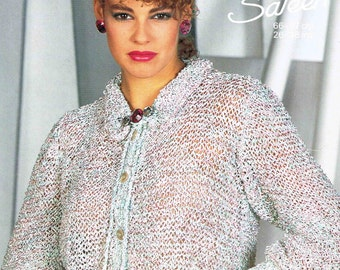 Lady's Cardigan with Frill Collar and Tie Neck - Size 66 to 97 cm (26 to 38 inches) - Sunbeam 912 - Vintage Retro Knitting Pattern