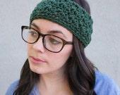 Hadley // Handmade crochet knit thick chunky headband // Evergreen