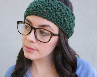 Hadley // Handmade crochet knit thick chunky headband ear warmer // Evergreen