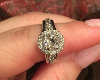 Diamond Halo Engagement Ring Moissanite Wedding Classic Engagement 14K White Gold Ring With 6.5mm Forever One Moissanite Center - V1110