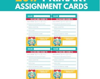 2017 LDS Primary Sharing Time Assignment Cards