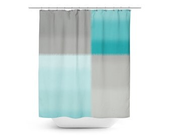 Grey And Turquoise Shower Curtain. Teal Grey Shower Curtain  Bath Gray Bathroom Decor Ombre Color Block Custom Dandelion Art Nature Home