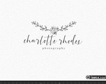 Premade Simple Logo, photography Logo, Minimal Logo, Elegant Logo, Floral Logo, Minimalist Logo, Black and White Logo, Watermark