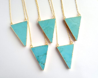CLEARANCE Turquoise Triangle Necklace Imitation Turquoise Pendant Gold Triangle Stone Jewelry Geometric Jewelry Howlite Turquoise Jewelry