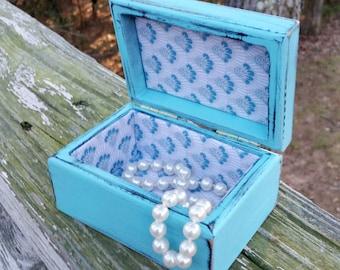 Shabby Chic Jewelry Box, Turquoise Jewelry Box, Small Jewelry Box, Turquoise, RobinsStudio, Shabby Chic, Recycled Box, Vintage Box, Wood Box