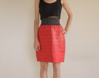 80's RED leather high waisted mini skirt/ elastic waistband