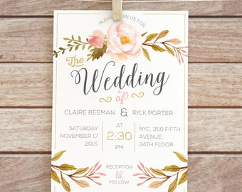 Printable Floral Wedding Invitation |  Floral Wedding Invitation | Printable | Digital File |
