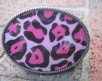 belt buckle pink black leopard print belt buckle retro oval silver women's belt buckle  diva belt buckle gypsy belt buckle