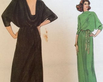 1970s long evening dress, cowl neck, dolman sleeves, bias front & back bodice,   Vogue Pattern 7250, size 14, bust 36