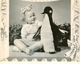 CROCHET PATTERN Vintage Penguin Toy Stuffed Animal Instant Download PDF