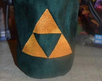 Dice Bag custom Embroidery green suede golden Zelda triforce