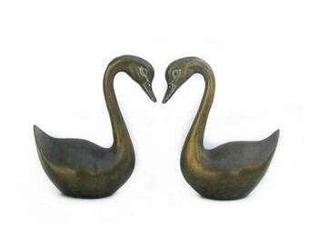 Vintage Pair of 2 Brass Swans