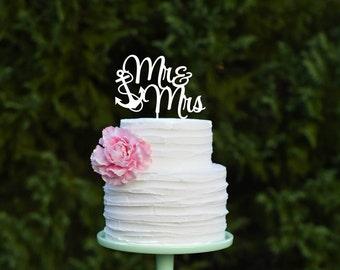 Mr & Mrs Anchor Wedding Cake Topper - Nautical Beach Cake Topper