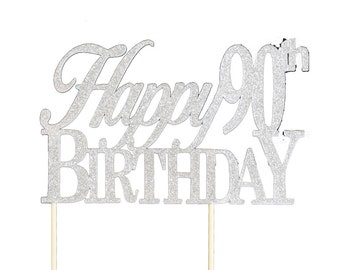 Silver Happy-90th-Birthday Cake Topper, 1pc, Birthday, Silver Glitter, Cake Decor, Handcrafted Party Decor, Party Supplies