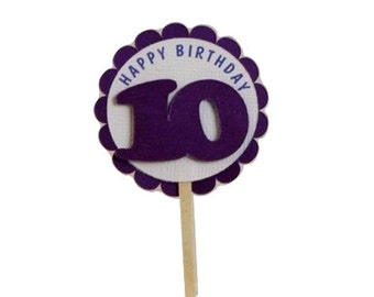 Shimmer Purple 10th birthday Cupcake Toppers, S12