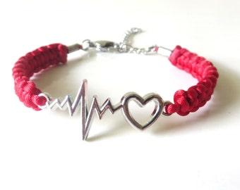 Medical Worker Doctor Nurse  Heartbeat Vital Sign Bracelet YOU Choose Your Cord Color