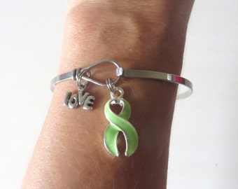 Lime Green LOVE HOPE Customizable Awareness Ribbon Charm Stainless Steel Bangle Bracelet With Optional Love Hope and Letter Charm
