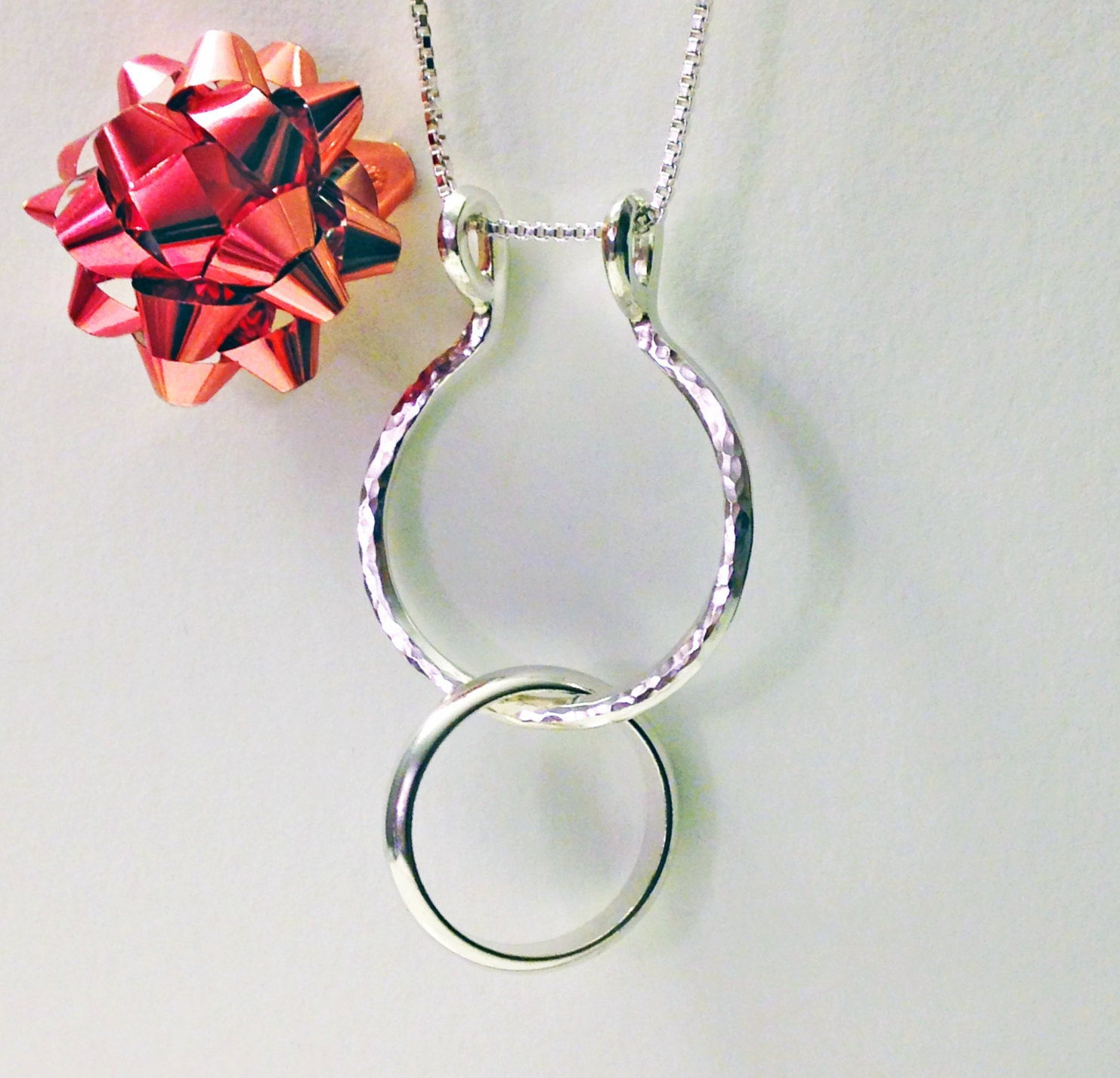 Ring Holder Necklace Hammered Or Smooth Ring Necklace Holder