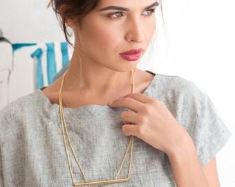 Tube necklace - asymetrical necklace - long necklace - gold necklace - fashion necklace - unique necklace - TheTubeNecklace