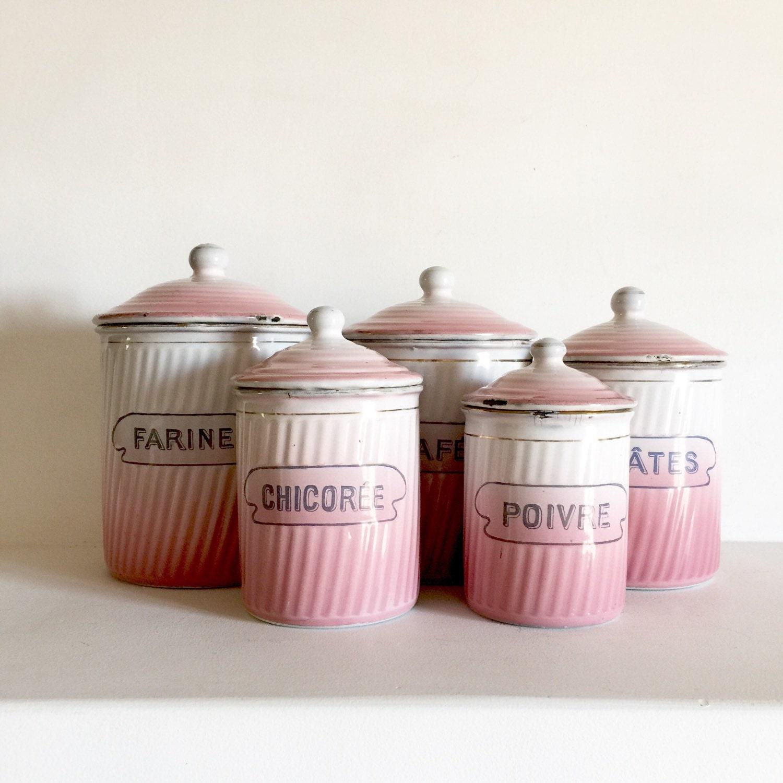 French Vintage Enamel Canister Set Pink Enamelware Canisters