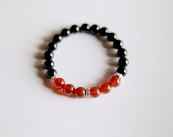 Sacral Chakra Bracelet Black Onyx Carnelian Bracelet Meditation Bracelet Yoga Bracelet Intention Bracelet Mala Beads Boho Jewelry