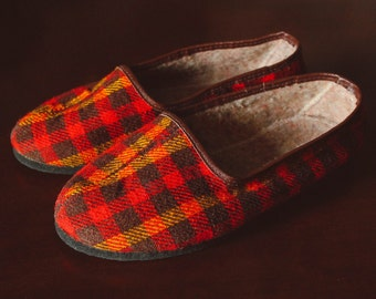 NEW Soviet Tartan Slippers / New Old Stock Classic USSR Vintage Red Plaid Slip On Shoes / Retro Plimsolls, Check Flats: EUR36 UK3,5 US5,5