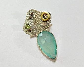 Aqua Blue Chalcedony, Peridot, .925 Sterling Silver, Two Tone, Pendant, Necklace, Focal, Jewelry, Supply, Supplies