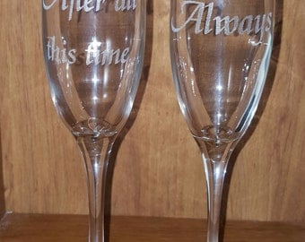 Laser Engraved Harry Potter Inspired After All this Time...Always Champagne Flutes ~ Wedding ~ Geeky Wedding ~ Harry Potter Wedding