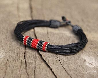 African Mens Bracelet Fiber Jewelry Nautical Bracelet Cool Braclet Mens Bracelet Mens Gifts Linen Bracelets Seed Bead Jewelry