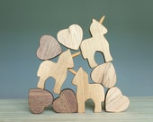 Wooden unicorn, wooden toy, Waldorf toy, wooden blocks, balance game