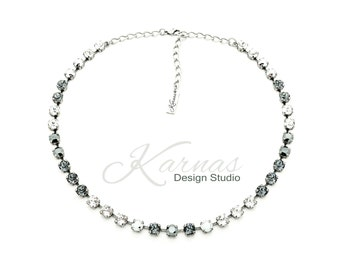 SILVER SENSATION 6mm Necklace Made With Swarovski Crystal *Antique Silver *Karnas Design Studio™ *Free Shipping*
