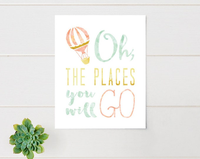 Nursery Art, Oh the places you'll go, Hot Air Balloon, Water Color, Framed, Canvas, Art Print #520